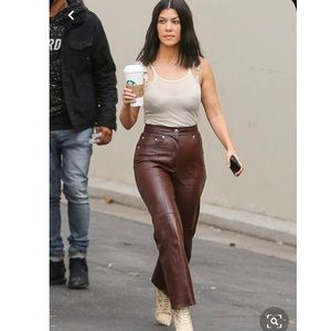 Worth Brown Leather Pants